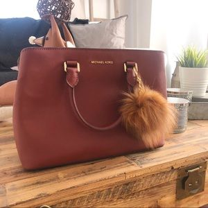Michael Kors Savannah Bag WITH FUR POM POM